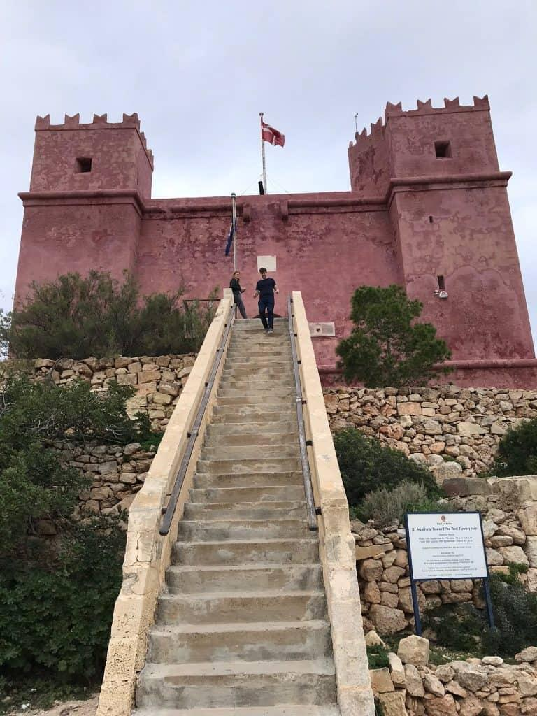 The entrance to St Agatha's Tower (also know as the Red Tower)