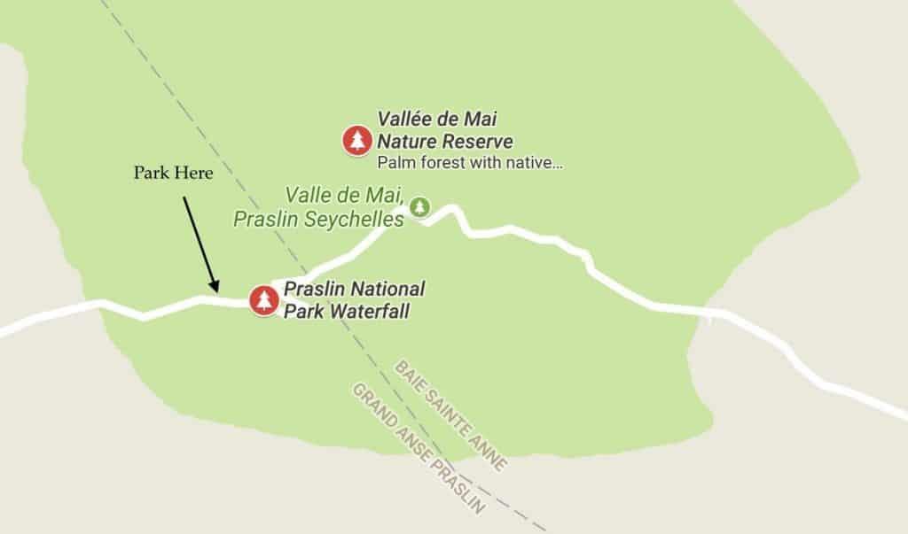 Praslin Waterfall - Map & Parking