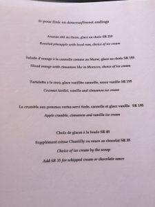 Paradisier Restaurant - Menu