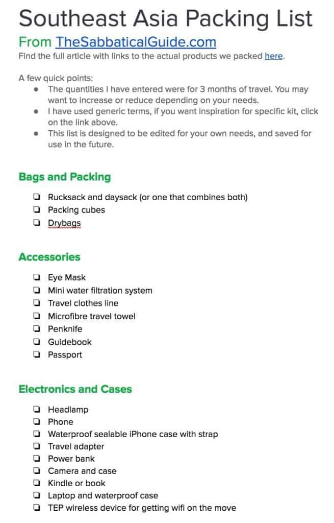 Packing List Google Doc