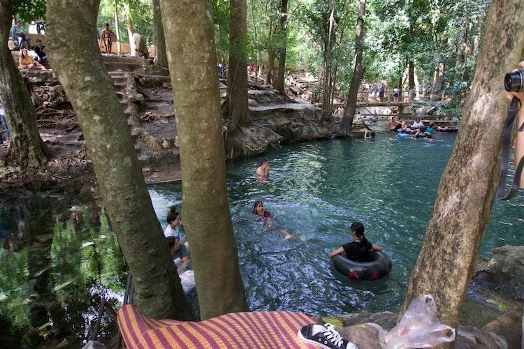 Swimming in the blue waters of Ban Tha Chang Spring