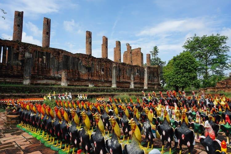 Wat Thammikarat in Ayutthaya with hundreds of small roosters statues lines up in front of it.