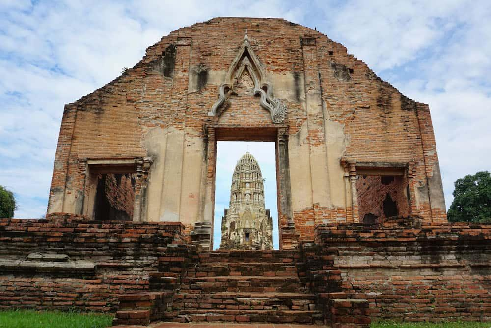 A view of a temple through a doorway in Ayutthaya, Thailand