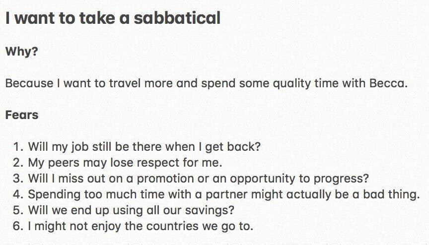 I want to take a sabbatical but am afraid