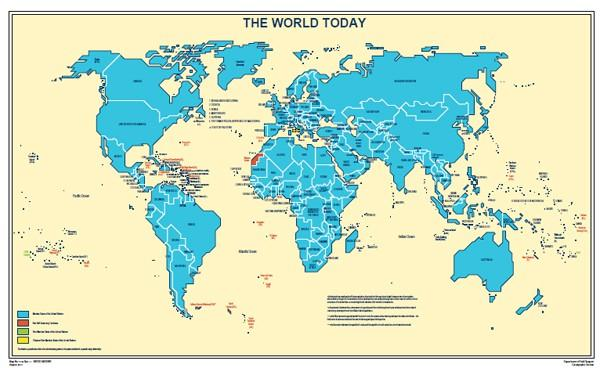 A yellow and blue world map