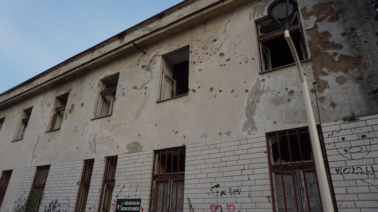 Bullet Holes in Bosnian Building