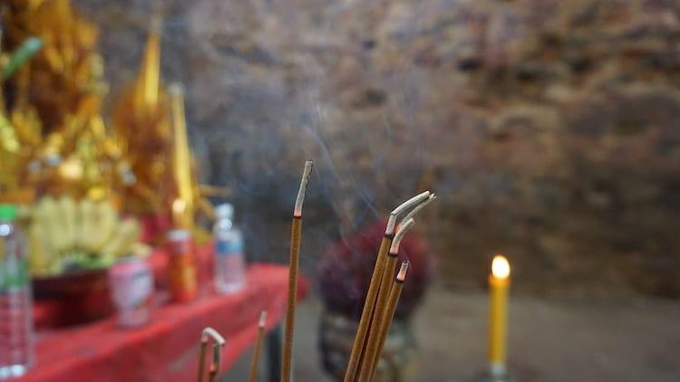 Incense Burning in Lion Temple, Sambor Prei Kuk
