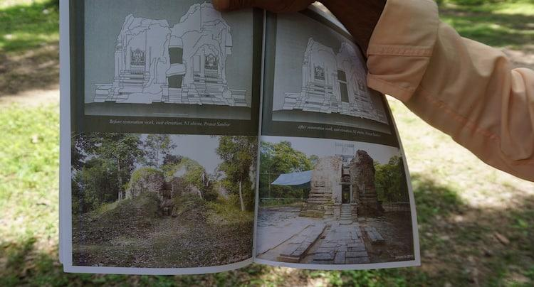 A guide book to Sambor Prei Kuk showing the restoration process at the temples