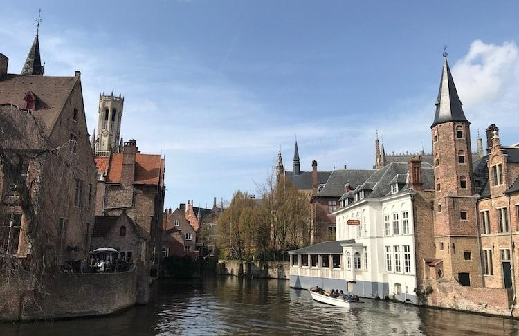 Canal boat on a trip in Bruges