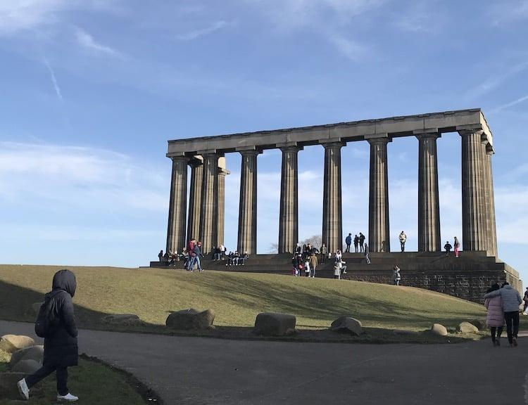 National monument of Scotland on a sunny day on canton hill