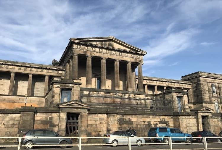 A photo of the old royal high school at the bottom of calton hill