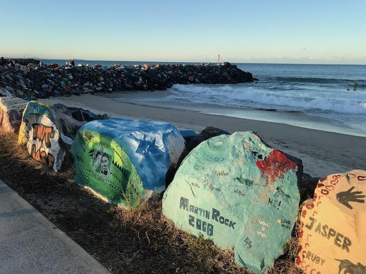 Painted rocks at Town Beach, Port Macquarie