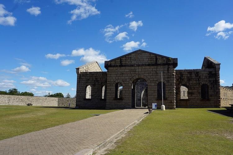 Front on view of Trial Bay Gaol in New South Wales