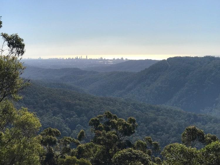 View to Gold Coast from Wunburra Lookout, Springbrook