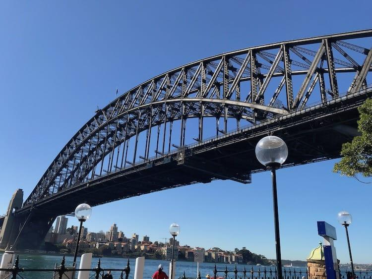 Sydney Harbour Bridge from Dawes Point on a sunny day