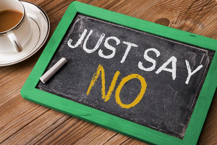 just say no written on small blackboard