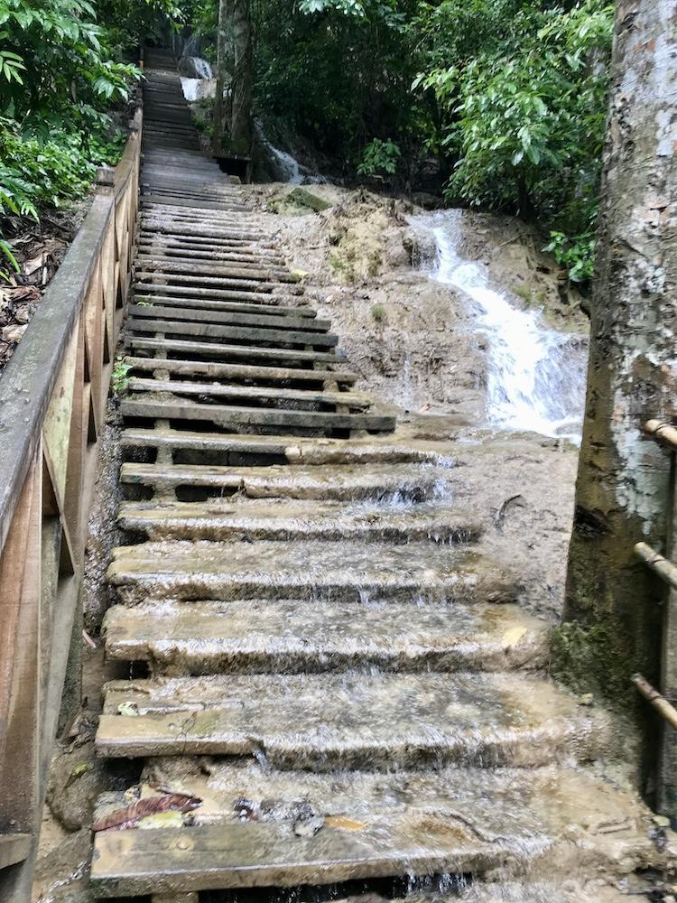 A waterfall and path crossing each other
