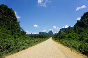 A dusty road with green jungle either side
