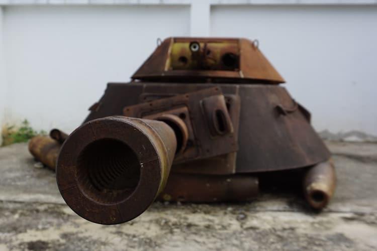 Close up of a rusty tank