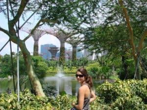 Lady standing in front of the Gardens by the Bay in Singapore