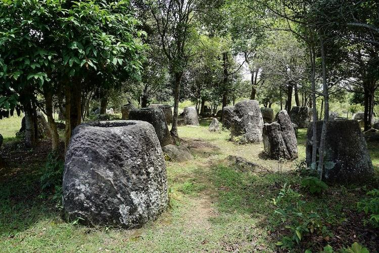Plain of Jars site 3, stone jars in a forest covered in lichen.