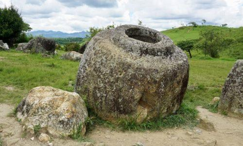 A large stone jar in Laos