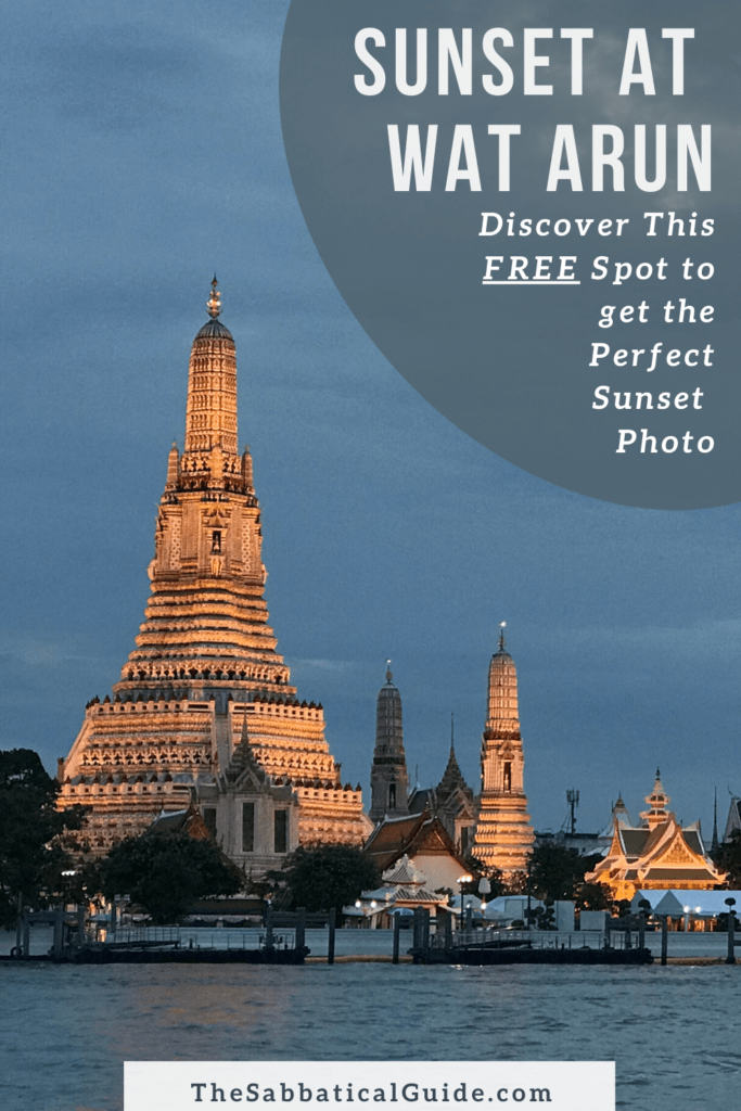 Sunset at Wat Arun Bangkok, where to take a photo of Wat Arun