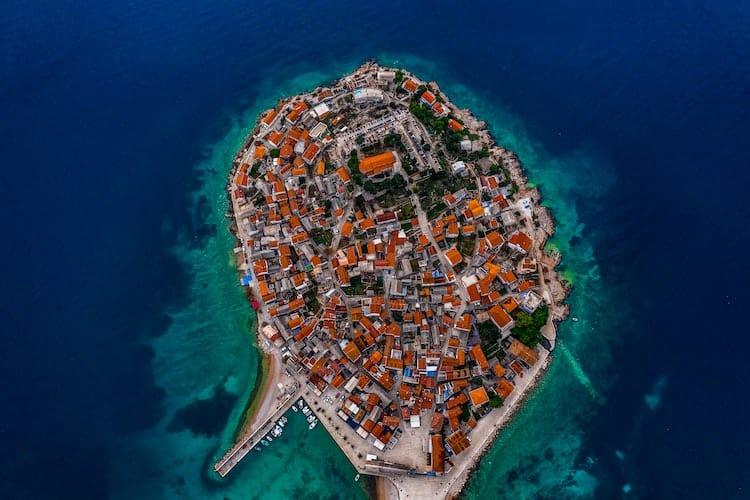 Aerial view of a Croatian town surrounded by water