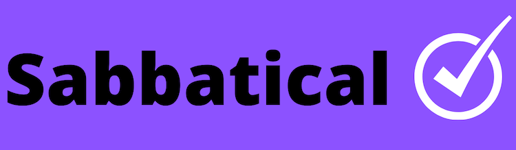 The word sabbatical on a purple background with a tick to the right hand side