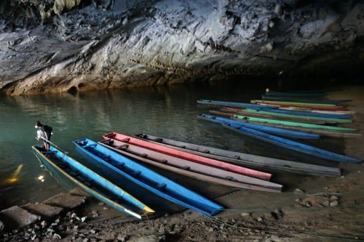 Boats At Kong Lor Cave