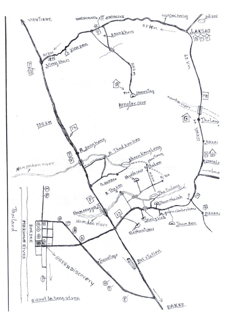 Thakhek Loop Local Hand Drawn Map