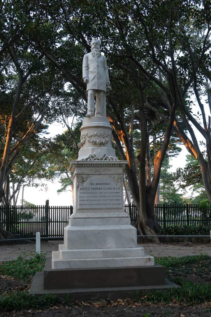 Williamstown Botanic Gardens Statue A T Clark