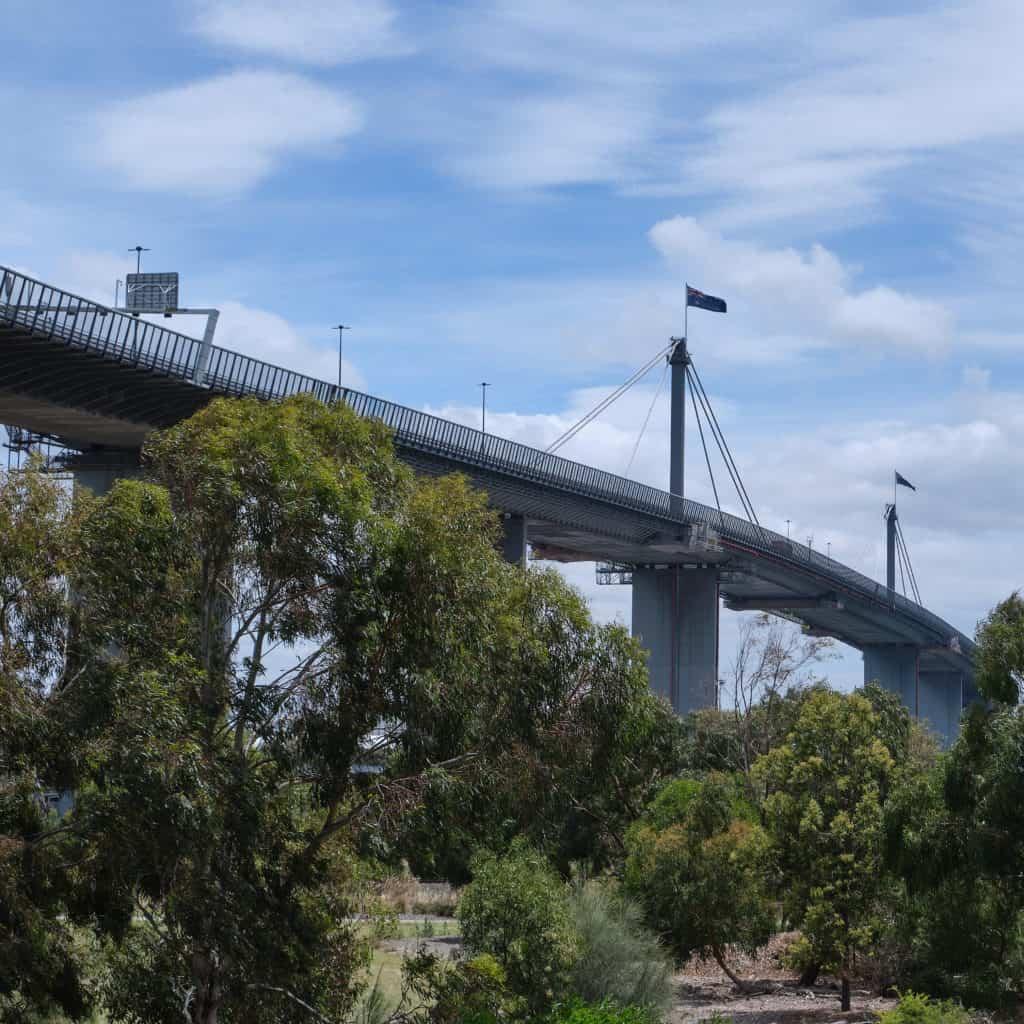 Bridge with Australian flags flying above