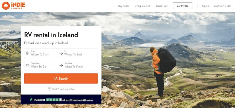 Indie Campers Homepage Screenshot