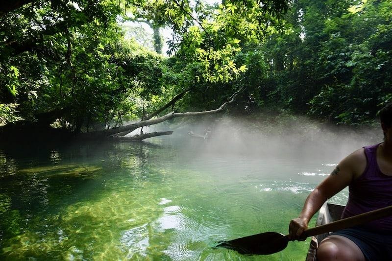 Local Woman In Mist At Blue Lagoon Thakhek