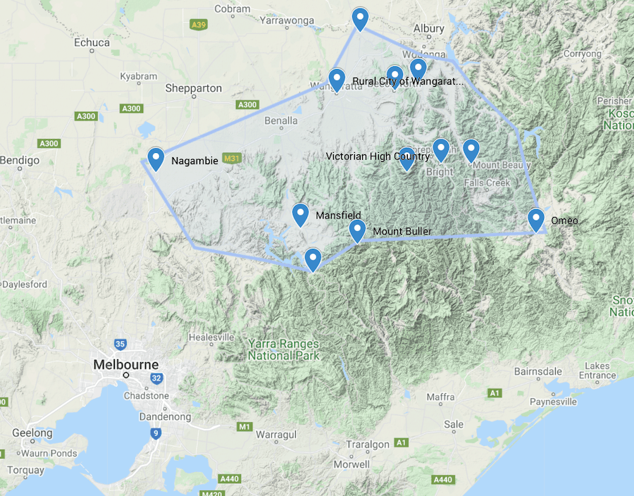 victorian high country location map
