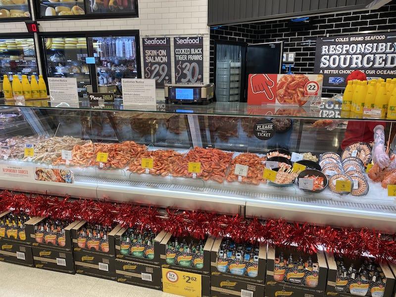 prawns on fish counter in australia