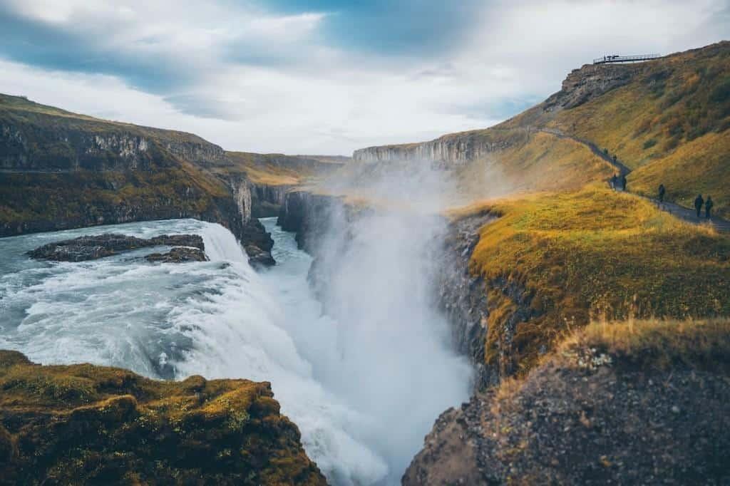 gullfoss waterfall icealnd during a layover